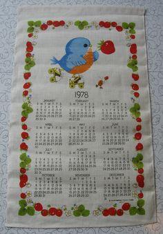 Rockin' Robin 1978 calendar linen tea towel.
