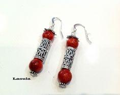 Boucles d'oreilles Corail rouge, en argent pendantes http://www.laoula-bijoux.com/boucles-oreilles-corail-en-argent.htm