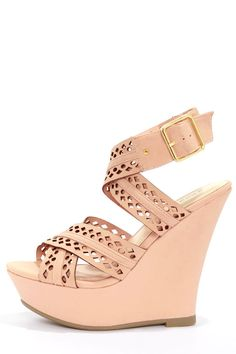 Cute Blush Shoes - Pink Wedges - Wedge Sandals - $36.00