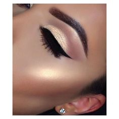 10 Gold Smoky Eye Tutorials for Fall ❤ liked on Polyvore featuring eyes