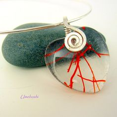 Heart Strings Fused Glass Pendant with Hammered Argentium Silver Bail | Umeboshi - Jewelry on ArtFire