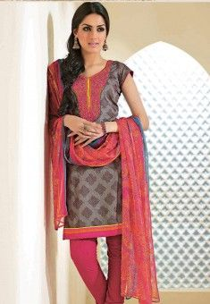 Grey Cotton kameez designed with Lace Border. Available with Pink Cotton Bottom with matching Chiffon Dupatta.