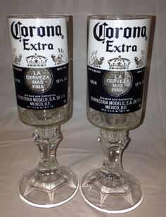 Upcycled Carona Beer Bottle Wine Glasses on Etsy, $15.00