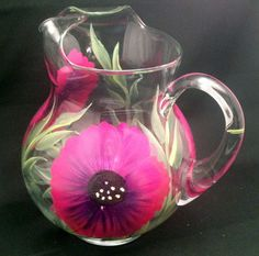 Hand Painted Acapulco Glass Pitchers by PaintedPetalz on Etsy, $42.00