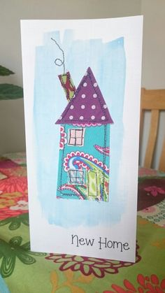 Handmade applique fabric card. New Home