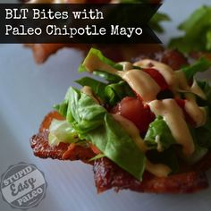 BLT Bites with Paleo Chipotle Mayo. Click here for the recipe >> http://stupideasypaleo.com/2013/05/13/blt-bites-with-chipotle-mayo/. #paleo #bacon #mayo