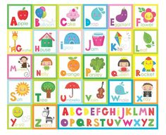 Cute Alphabet character squares Peel and Stick vinyl stickers wall art graphics decal