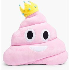 Boohoo Princess Poo Emoji Cushion | Boohoo ($14) ❤ liked on Polyvore featuring accessories and pink