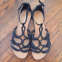 Ralph Lauren SANDALS Gently used! Straps are black leather. Small flaw on left back shown in second picture. Ralph Lauren Shoes Sandals