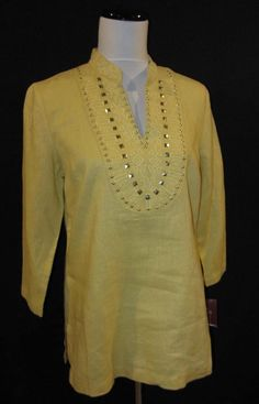 JM Collection size 8 Blouse Top New Misted Yellow Linen Marrakesh Bohemian #jmcollection #Blouse #Career