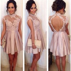 High Neck Prom Dresses Backless Champagne Appliques Lace
