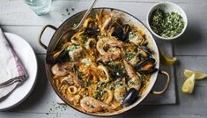 Prawn paella recipe - BBC Food Spanish Dishes, Spanish Food, Spanish Recipes, Portuguese Recipes, Mexican Recipes, Monk Fish, Fisher, One Pot Wonders, Stuffed Peppers