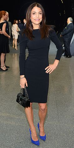 Last Night's Look: Love It or Leave It? | BETHENNY FRANKEL |  in a black dress with structured shoulders, a Chanel purse and cobalt blue heels at The Robin Hood Foundation's benefit in N.Y.C.