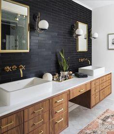 Spa Like Bathroom, Bathroom Sink Vanity, Master Bathrooms, Brass Bathroom, Bathroom Modern, Bathroom Cabinets, Concrete Bathroom, Luxury Bathrooms, Minimalist Bathroom