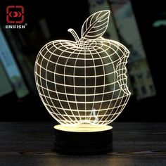Creative 3D Table Lamp Stylish Transparent Love Style 3D Wireframe LED Lamp Magic Night Bed Reading Light Best Christmas Gift