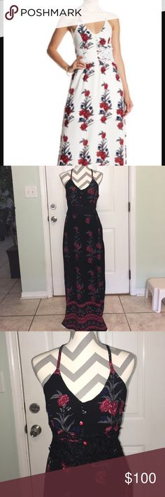 NWT Romero+Juliet Couture Black Combo Beauty Amazing maxi, black with roses, T-back strap, fully Lined.     Front had a coupe. Of buttons fir design and a lacing from front to back under breast area.   Hard to explain because pics do no justice Romeo & Juliet Couture Dresses Maxi