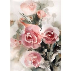 ORIGINAL Watercolor Painting of Roses, flowers painting, pink roses... ($92) ❤ liked on Polyvore featuring home, home decor, wall art, pink flower wall art, watercolour flower paintings, pink flamingo wall art, pink wall art and watercolor flower painting