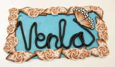 Door sign for Venla with millefiori roses  and leaves and a butterfly - Polymerclay by KVJ