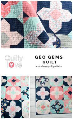 Geo Gems quilt pattern by Emily of Quiltylove.com.  Modern solids quilt   pattern.  Fat quarter   friendly quilt pattern.