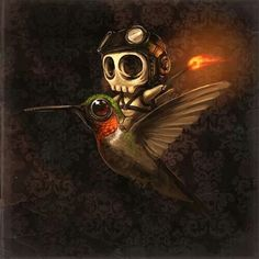 Little skull pilot with a match riding a hummingbird