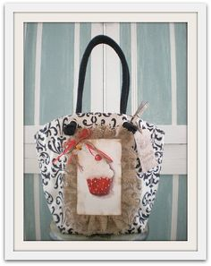 Hand Painted Red cupcake tote bag