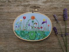 Small Oval Embroidery Hoop 'Garden' with by TheGrumpyCrafter