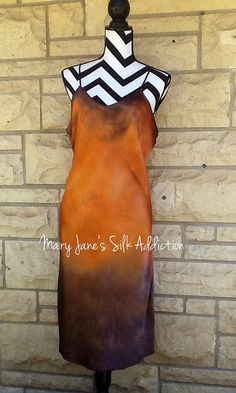 Hand painted silk Charmuse Chemise, dress XL brown and burnt orange ombré