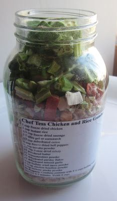 Chef Tess Bakeresse: Just because you're preparing for hurricane disasters doesn't mean you have to eat like a poor college student. These meals in jars have shelf lives of 7 to 10 years. This blog has instructions on how to make a large variety of meals that can be prepared with minimal effort and resources. GENIUS PIN