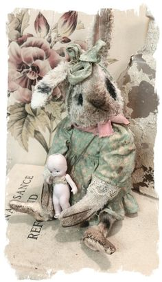 """Image of NEW SMALLER Size * 6.5""""  Dolly Bunny- an OLD Cream Spotted RABBIT  * By Whendi's Bears"""