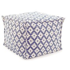 """Give all your favorite spaces a dash of global glam with this chic indoor/outdoor pouf made of durable, washable polypropylene. The versatile denim and ivory graphic pattern was inspired by the stunning Samode Palace in India.    • 100% polypropylene shell; filled with polystyrene beads.   • 25""""x 23""""x 17""""."""