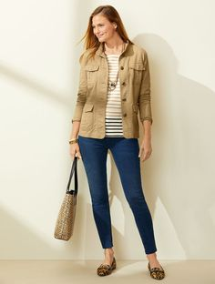 Classic Style Women, Modern Classic, Perfect Jeans, Pattern Mixing, Ladies Boutique, Fashion Pictures, Jeggings, Talbots, Outerwear Jackets
