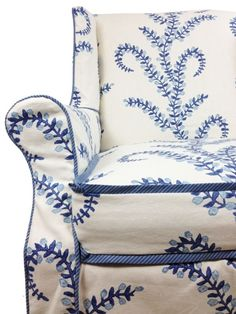 John Robshaw Prasana for Duralee Living Room Drapes (comes in 5 colors) Love Blue, Blue And White, Muebles Shabby Chic, Living Room Drapes, Living Rooms, Slipcovers For Chairs, Wingback Chairs, Custom Slipcovers, Armchairs