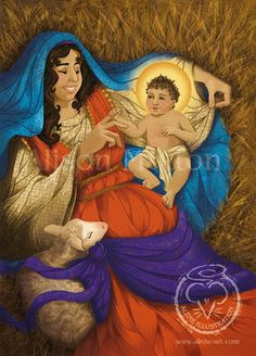 Nativity Christmas Card design (digital) by Alison Mutton | www-alene-art.com