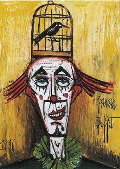 Clown à la cage à oiseau by Bernard Buffet