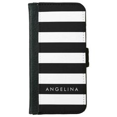 Black and White Striped Pattern Custom Name iPhone 6 Wallet Case
