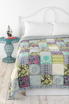 Design inspiration:  cool colors, patchwork quilt with bleached wood floors