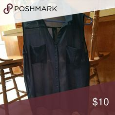 Sheer navy top So cute! Compliments when paired with white skinnys Tops Blouses