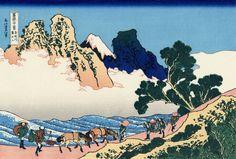 36 Views Or Mount Fuji - Katsushika Hokusai c. 1760 - 1849.  This print is Additional #10/10 being an ink print made from woodblock.  Title - The back of Fuji from the Minobu river.  Minobu-gawa ura Fuji. 身延川裏不二