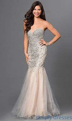 Shop SimplyDresses for beaded fit and flare gowns and long sweetheart mermaid dresses for prom. Floor length jewel embellished prom dresses.