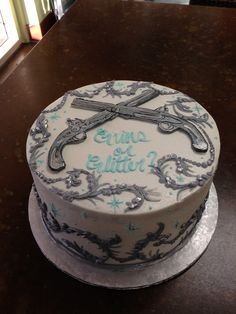 Guns or Glitter , gender reveal . Sweet Layers Cakes Pastries , Murrieta . Ca