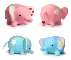 Blue or Pink Elephant plush soft toy by DIYFluffies on Etsy, $49.00