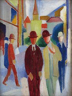 August Macke: Helle Straße mit Leuten