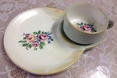 Conjunto cerâmica feita a mão com decalque porcelana