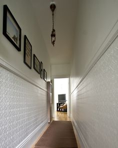 Your hallway is often the first area of your home interior. A dark, narrow hallway seems to loom before you and presents an interesting decorating challenge. Anaglypta Wallpaper, Wall Wallpaper, Embossed Wallpaper, Trendy Wallpaper, Textured Wallpaper Ideas, First Apartment, Apartment Therapy, Hallway Decorating, Decorating Ideas