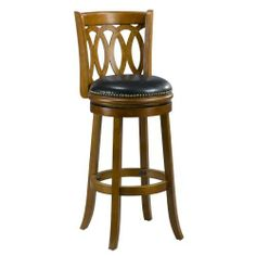 Mintra Dark Oak Finish Spiral Back Leather 29-Inch Swivel Barstool by MINTRA. $99.99. Upholstery materials: premium bi-cast leather covers; black leather upholstery. Dimension: 38-inch high by 18-inch wide by 18-inch deep; seat height: 29-inch. French legs with tapered bottoms: full ring footrest for strength and stability. Assembly required, available also in cherry, cappuccino, and black finish. Solid woods construction in dark oak finish. Perfect for refined ent...