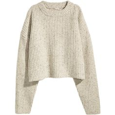 Grovstickad tröja i ull 499 found on Polyvore featuring tops, sweaters, clothes - tops, clothing - ls tops, white sweater, white jumper and white top