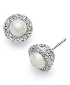 Eliot Danori Earrings, Framed Simulated Pearl Stud Earrings: must buy asap Black Diamond Earrings, Pearl Stud Earrings, Pearl Studs, Diamond Studs, Pearl Jewelry, Wedding Jewelry, Jewelery, India Jewelry, Silver Jewelry