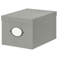 IKEA - KVARNVIK, Storage box with lid, grey, You can decide which side of the box you want to place the handle with label holder on. The box fits the HEMNES storage series and other furniture/storage furniture with shelves which are at least 25 cm deep. Grey Furniture, Living Furniture, Furniture Storage, Bedroom Furniture, Range Document, Hemnes Bookcase, Billy Regal, Ikea Wardrobe, Recycling Process