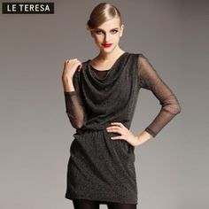 $64.00  2013 spring new brand Women in the long section was thin package hip round neck long-sleeved knit the primer shirt dress
