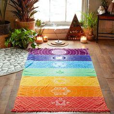 US Rainbow Beach Mat Mandala Blanket Wall Hanging Tapestry Stripe Towel Yoga Hot Woven Wall Hanging, Hanging Art, Tapestry Wall Hanging, Wall Hangings, Mandala Blanket, Mandala Tapestry, Indian Wall Decor, Wall Art Decor, Manta Mandala